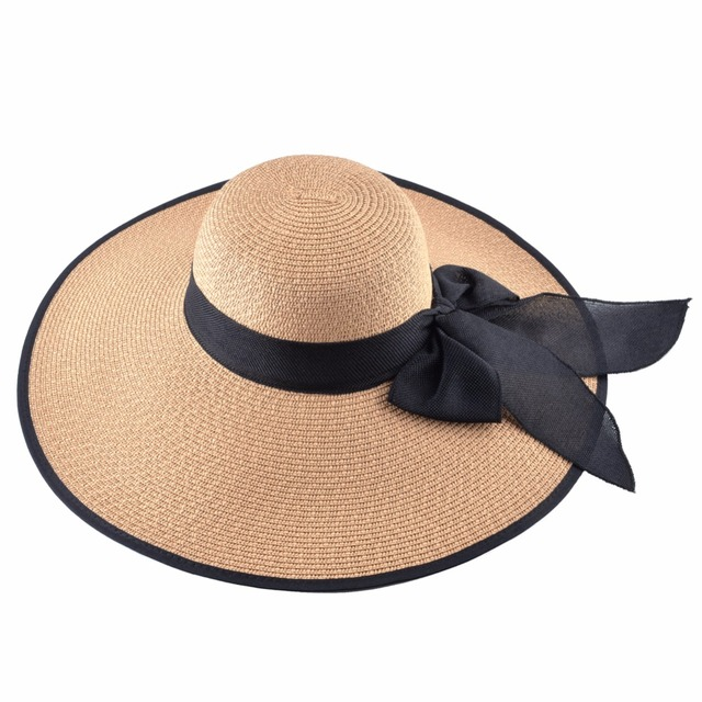 Fashion Straw Hat For Women Summer Casual Wide Brim Sun Cap With Bow-knot Ladies Vacation Beach Hats Big Visor Floppy Chapeau 3