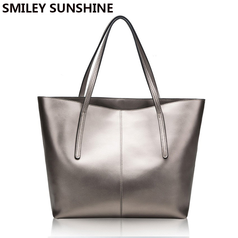 Silver Genuine Leather Women Bag 2018 Big Handbag Fashion Top-handle Hand Bag Ladies Tote Large Luxury Female Shoulder Bag