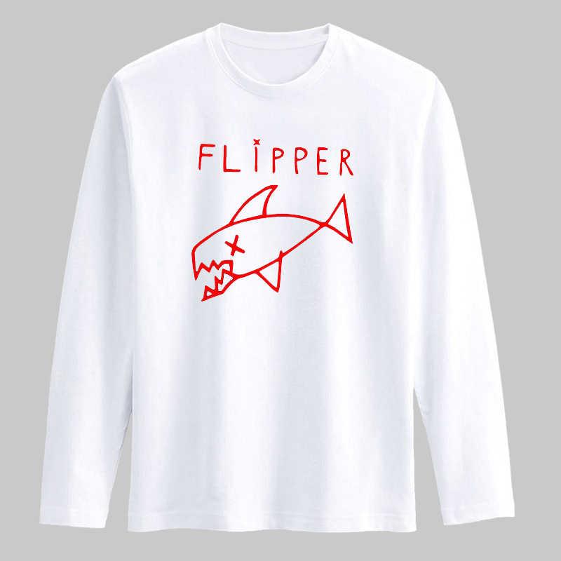 Лидер продаж! Новая мода рыбы узор черный длинный рукав футболка белый хлопок рыбы шаблон Высокое качество Мужская футболка футболки XXS-3XL
