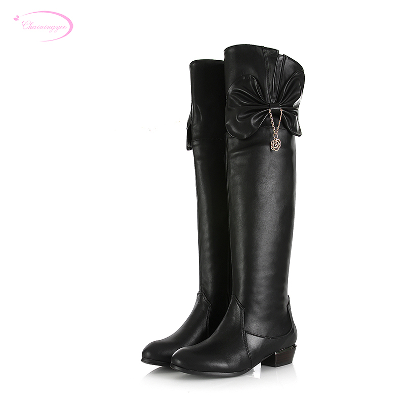 Chainingyee handmade quality custom cowhide knee high boots bowknot decorate metal rivet belt buckle womens riding bootsChainingyee handmade quality custom cowhide knee high boots bowknot decorate metal rivet belt buckle womens riding boots