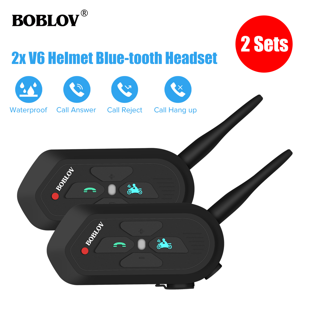 Boblov 2 Pcs BT-3.0 V6 Waterproof 1.2KM Motorcycle Helmet Headset Intercom Wireless Bluetooth Headphone Interphone Handsfree