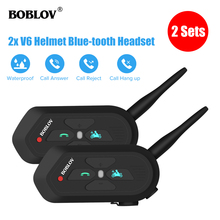 Boblov 2 Pcs BT-3.0 V6 Waterproof 1.2KM Motorcycle Helmet Headset Intercom Wireless Bluetooth Headphone Interphone Handsfree