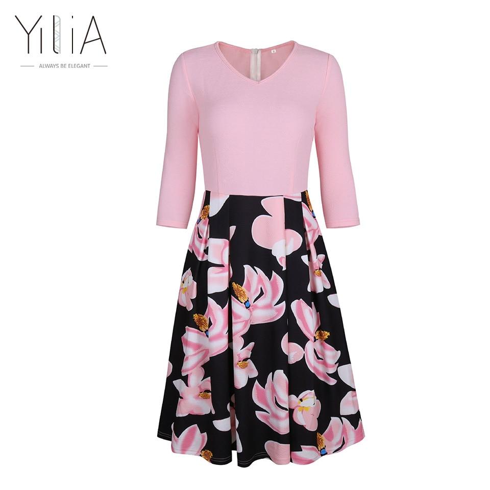 Yilia A Line Dress Women 2017 Elegant Autumn Floral Print Office Party Dresses 34 Sleeves Knee Length Vintage Patchwork Skater