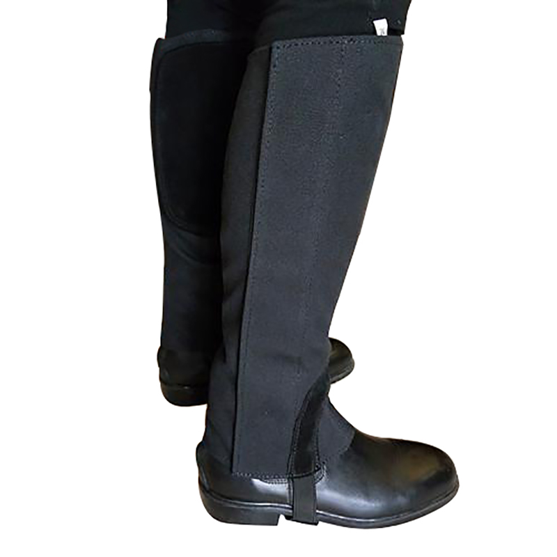 Horse Riding Gaiters 1 Pair Soft Canvas Leather Equestrian Half Chaps Black Leg Covers Quality Outdoor Sports Leg Protector