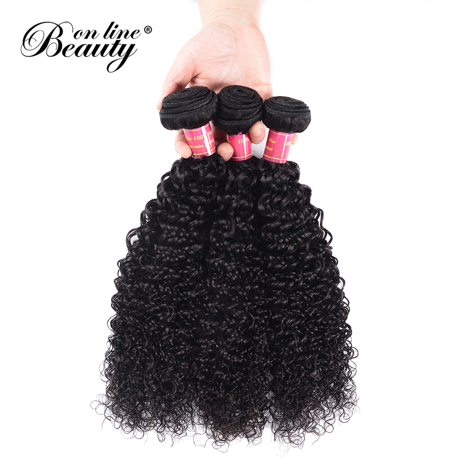 Beauty On Line Afro Kinky Curly Hair 1/3 Bundles Natural Color Peruvian Hair Weave Bundles Remy Human Hair Extensions