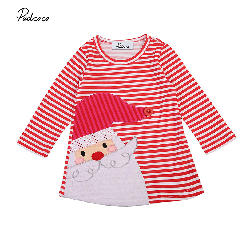 Christmas Girls Long Sleeve Santa Claus Dress Striped Casual Mini Dresses Xmas Clothes for 1-7Y my 1st christmas santa claus white top minnie dot petal skirt girls outfit nb 8y