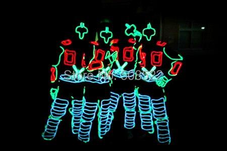 Odzież emitująca światło EL Kostiumy klubów nocnych Kostiumy taneczne Kostiumy w kolorze fluorescencyjnym Rozmiar dostosowany