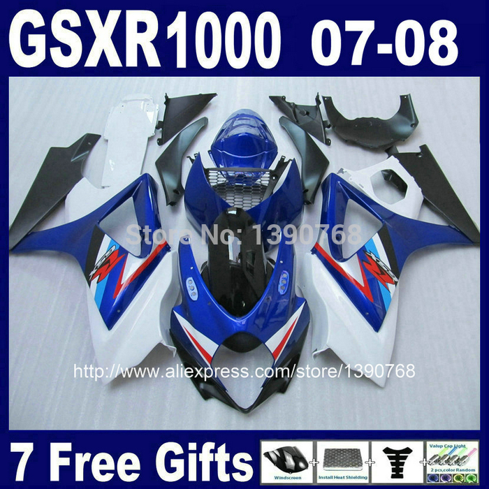 Motorcycle fairing kit for SUZUKI K7 GSXR1000 2007 2008 white blue black ABS fairings set GSXR 1000 07 08 CB42 +7 gifts bl jn replacement compatible 3 7v 1500mah battery pack for lg optimus black p970