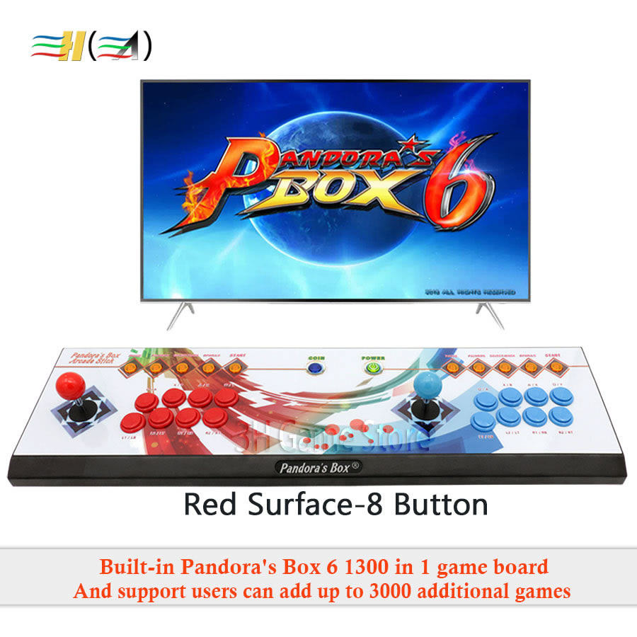 Pandora's Box 6 8 knop arcade console 1300 in 1 kan toevoegen 3000 games 2 spelers HDMI VGA usb joystick voor pc video game ps3 TV - 2