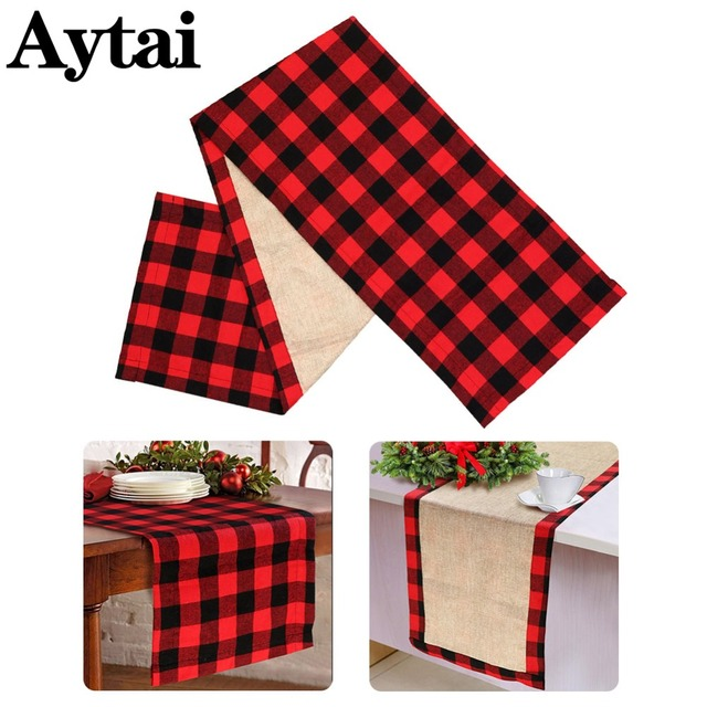 aytai red cotton plaid christmas table runner buffalo check table runner for family dinners or gatherings - Christmas Plaid Table Runner
