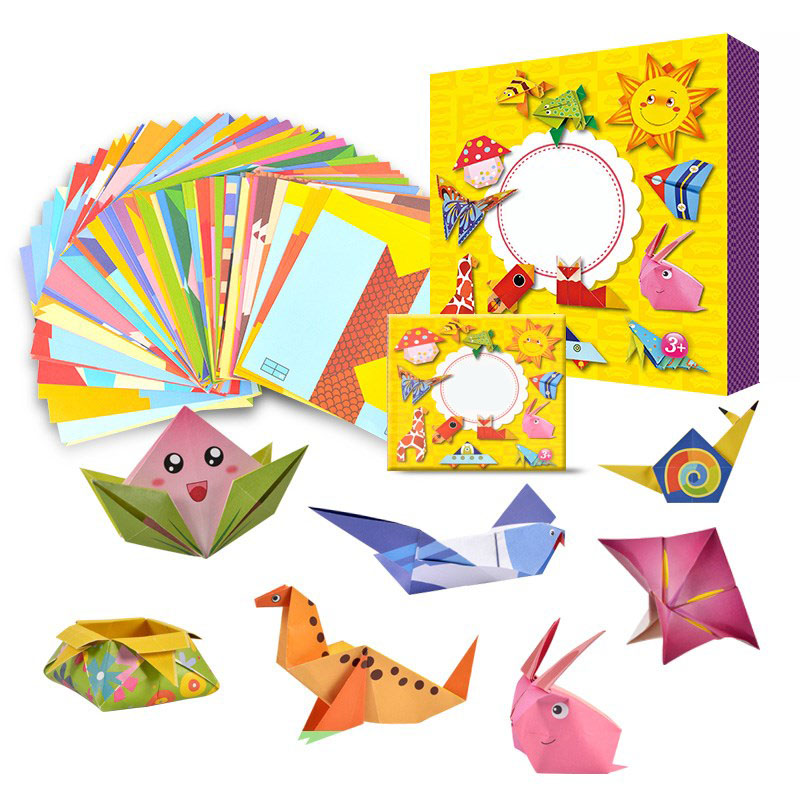 54 stücke Kinder Marke origami buch für tier muster 3D puzzles/Kinder DIY papier handwerk produktion lernen pädagogisches spielzeug