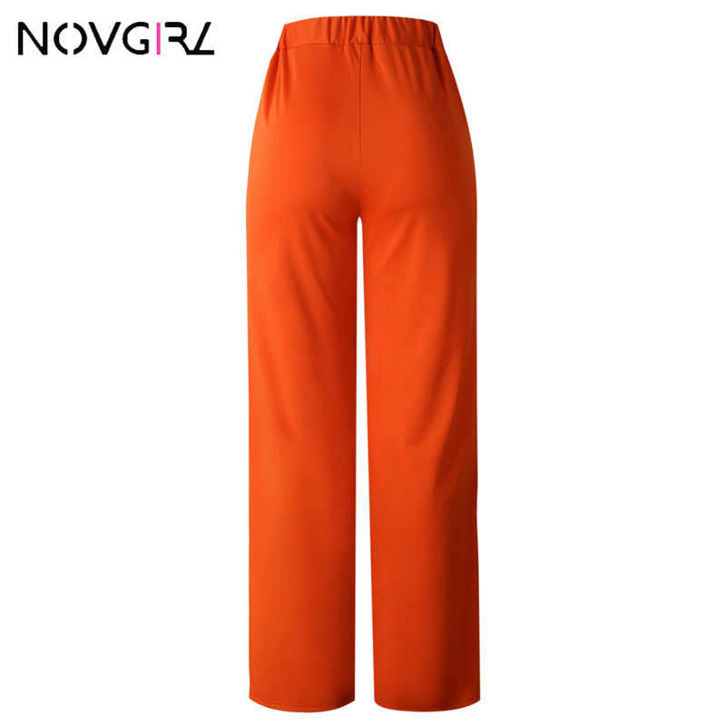 Novgirl/женские сексуальные неоновые широкие брюки с высокой талией, 2019, летние свободные стильные уличные длинные брюки, пляжные прямые штаны для женщин