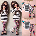 2-7Y Kids Girls Autumn Winter Long Sleeve Tops+Floral Leggings Pants 2Pcs Outfit