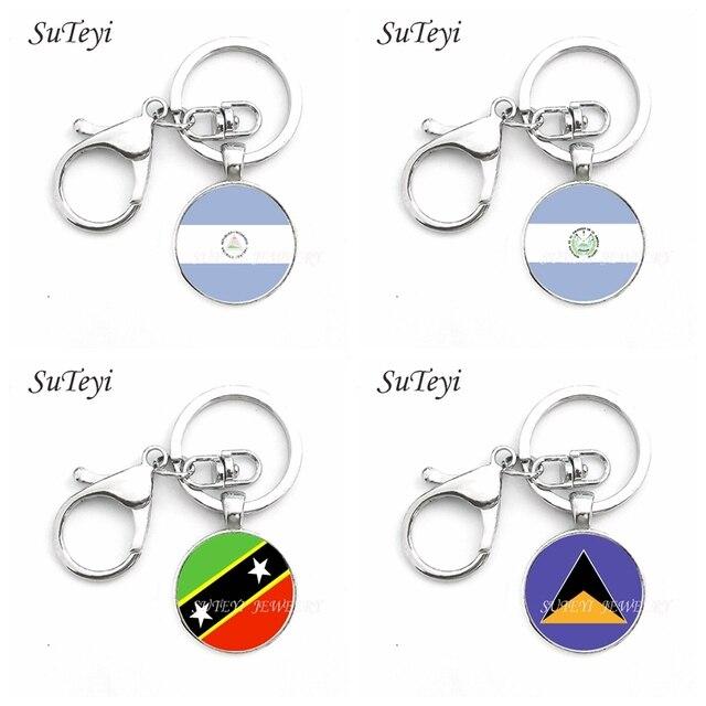 Suteyi Kaca Cabochon Nikaragua dan El Salvador dan Santa Kitts dan Nevis dan Saint Lucia Gantungan Kunci Fashion Tas Mobil Gantungan Kunci cincin