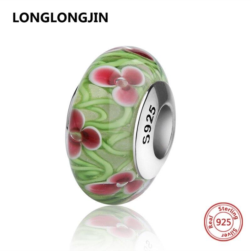 925 silver light green Murano glass beads charms with <font><b>flower</b></font> petal fit original pandora bracelets diy jewelry making women gifts