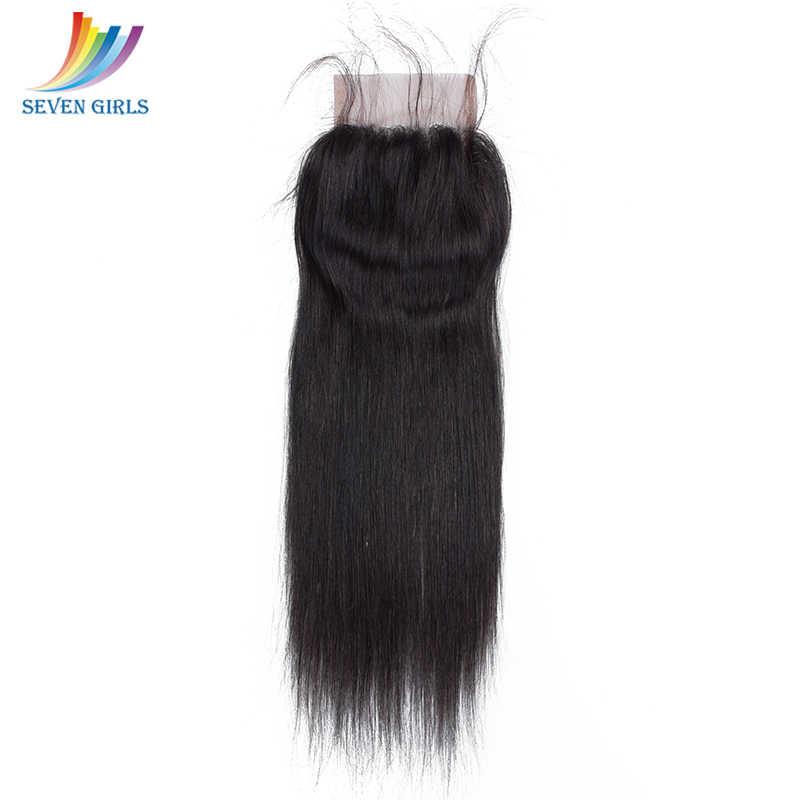 Sevengirls Peruanische Gerade Haar 4 Bundles Mit 4*4 Verschluss 100% Unverarbeitete Reine Haar Grade 10A Menschliches Haar Kostenloser verschiffen
