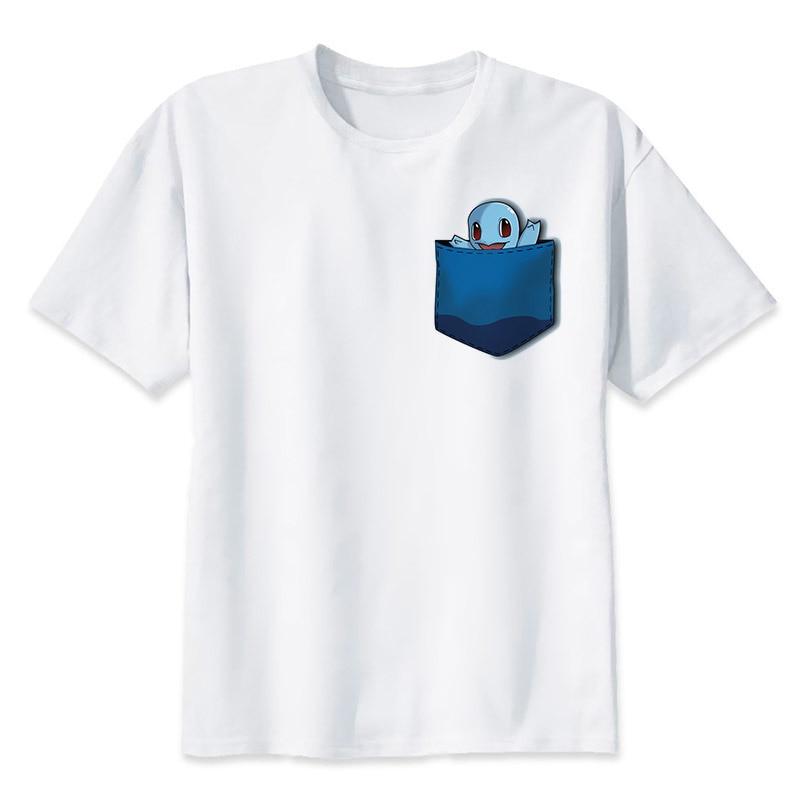 2017 New Arrivals Men Fashion T-shirt Short Sleeve t shirts Pokemon Go Pikachu Printed Funny Comics tee tops