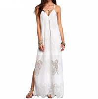 Plus Size S 5XL Summer Ladies Long Dress Women Backless Vestidos Sexy White Black Split Sleeveless