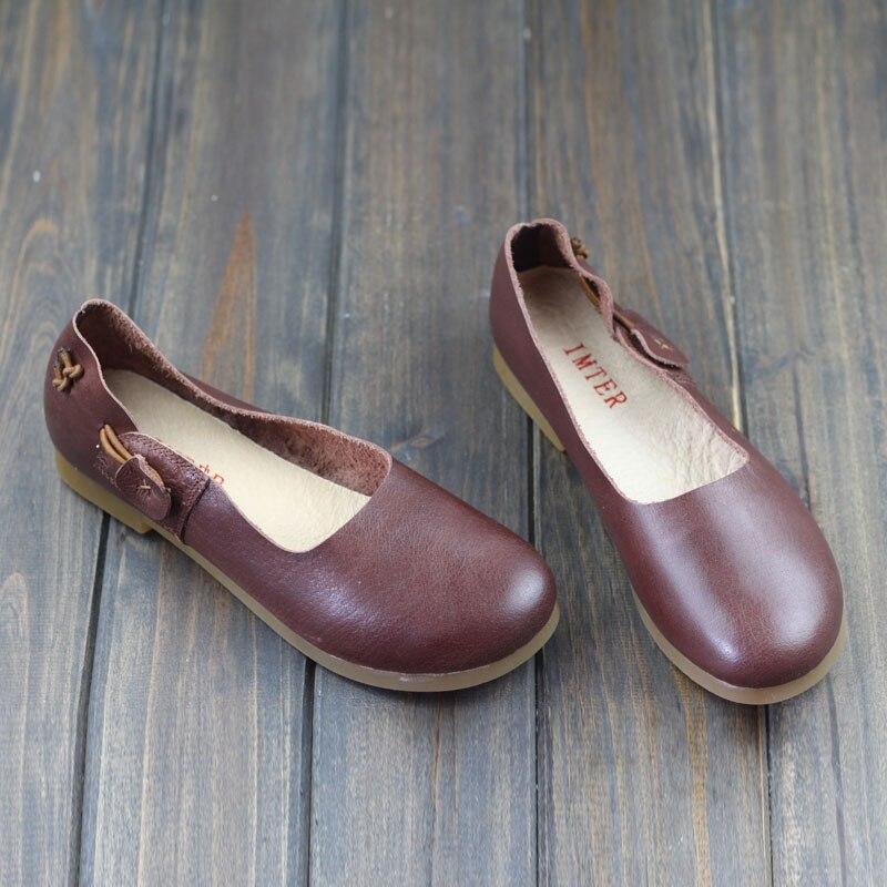 Women Flat Shoes 1005 Genuine Leather Ballerina Flats Round toe Slip on Ballet Flats Spring Autumn