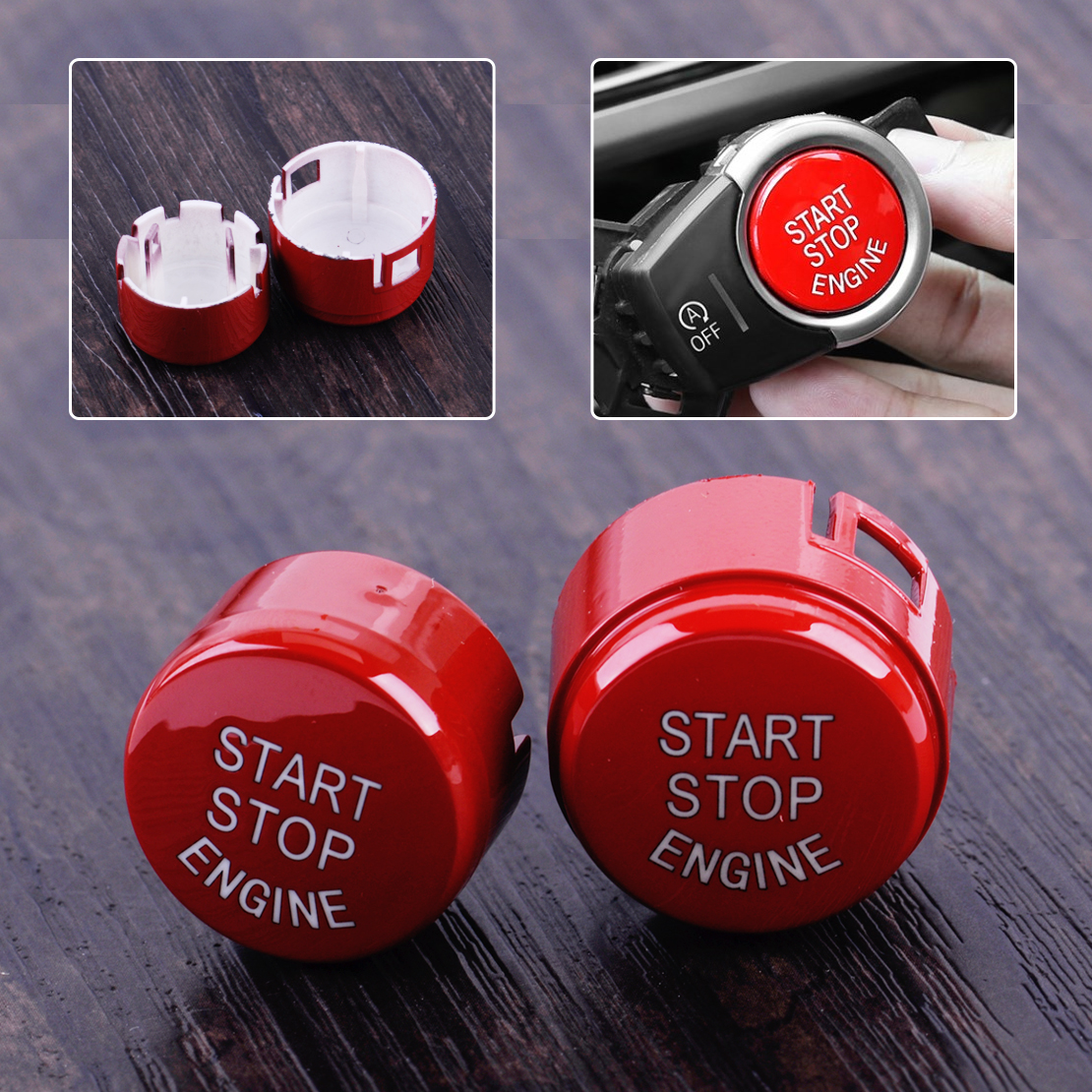 DWCX Car ABS RED Engine Start Stop Button Push Switch Replace Cover for BMW 1 2 3 4 5 6 7 Series F20 F30 F10 easyguard pke car alarm system remote engine start stop shock sensor push button start stop window rise up automatically