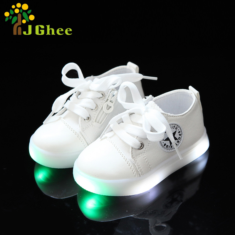 Kids Shoes Fashion Luminous Sneakers For Boys Girls Toddler Children LED Shoes Glowing Shoes Zip Lace-up Sports Shoes New
