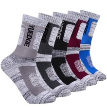 YUEDGE Brand 5 Pairs Men's Cotton Cushion Crew Socks Outdoor Sports Hiking Walking Running Climbing Backpacking Socks