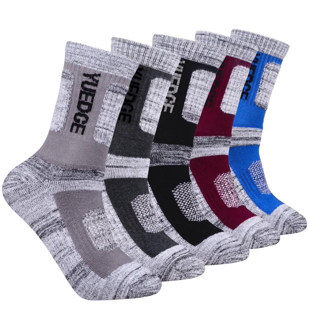 YUEDGE Marke Hohe Qualität 5 Pairs Männer Wicking Kissen Outdoor Sport Socken für Wandern Walking Laufen Klettern Rucksack Skifahren