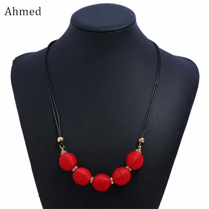 Ahmed Fashion New Maxi Necklaces & Pendants Statement Yarn Ball Pendant Leather Choker Necklace for Women Jewelry