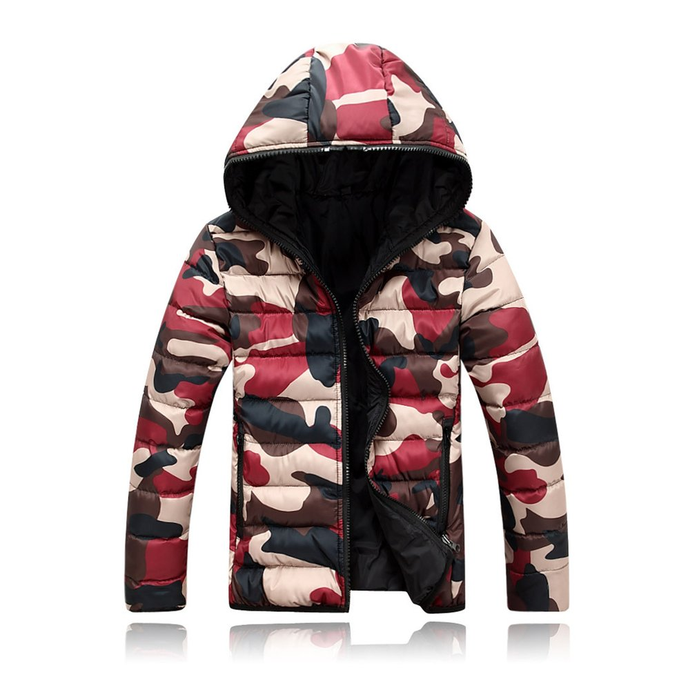 Plus Size M-4XL Men Outwear Coats 2019 Winter Warm Thick Parka Long Sleeve Camouflage Military Bomber Jacket Hooded Zipper Coat