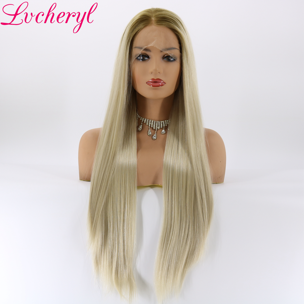 Lvcheryl Ombre Blonde Green Roots Long Silky Straight Style Hand Tied Heat Resistant Hair Synthetic Lace Front Wigs for Woman