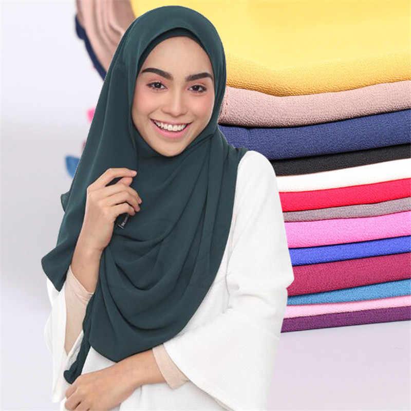 2019 Baru Wanita Chiffon Warna Solid Muslim Kepala Syal Selendang dan Membungkus Pashmina Bandana Mudah Siap untuk Memakai Jilbab Toko