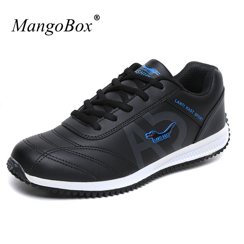 New Spring/Autumn Man Sport Shoes 2016 Brand Running Sneakers Men Leather Walking Jogging Shoes Black/White Gym Sneakers ...