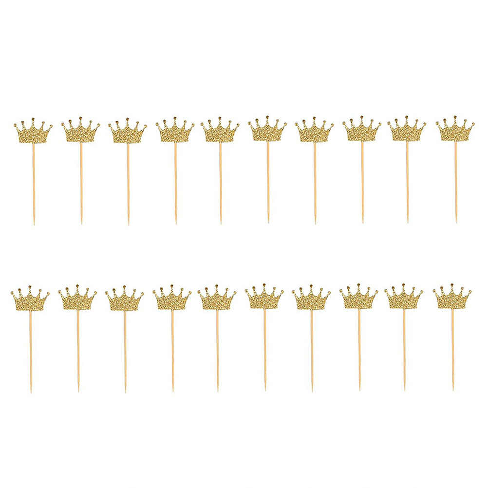 20pcs Gold Glitter Crown Cake Topper Cupcake Topper Pick Party Favor Cake Decor Fo Rborthday Wedding Kids Party