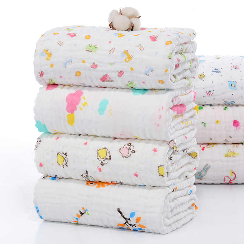 105*105cm 6 Layers 100% Cotton Gauze Newborn Blanket Infant Bath Towel Baby Sleeping Receiving Blankets Newborn Bedding Blanket