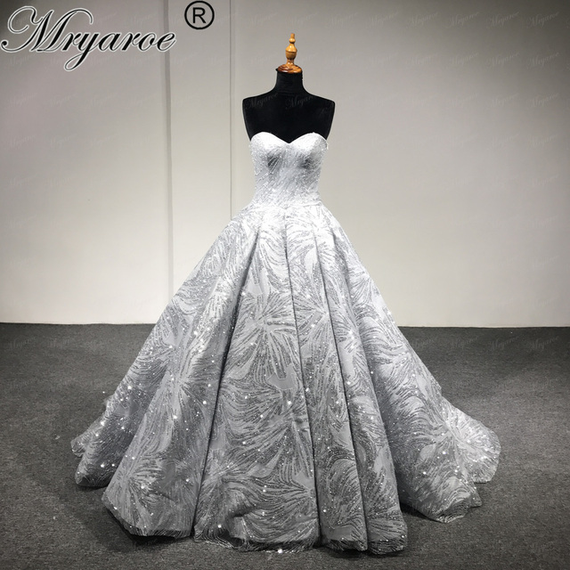 Mryarce Bling Sweetheart Ball Gowns Dresses Silver White Gold Sparkling Luxury Wedding Dress Bridal