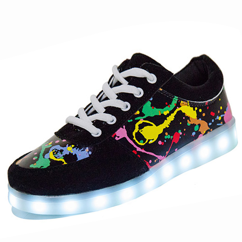 YPYUNA // USB illuminated krasovki luminous sneakers glowing kids shoes children with led light up sneakers for girls&boys