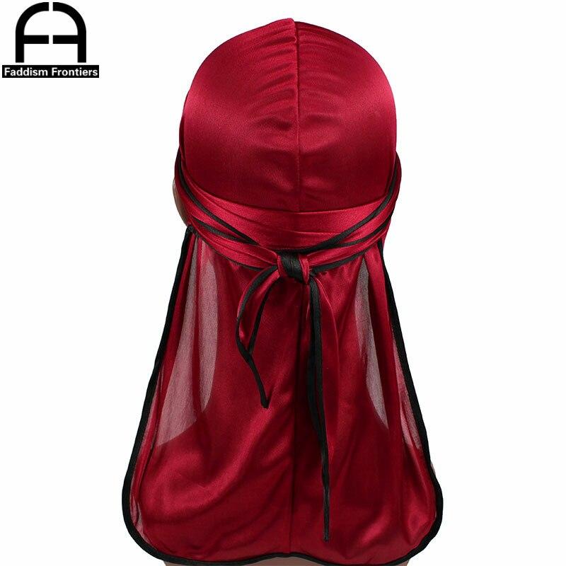 New Fashion Men's Satin Durags Biker   Headwear   Skull Cap Bandana Men Silky Durag Doo Rag Turban Hat Headband Hair Accessories