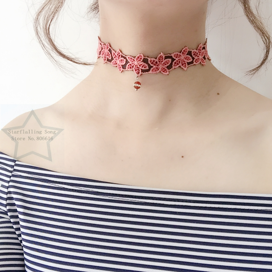 Handmade Red Natural Stone Charm 20MM Flower Chemical Lace & Stainless Steel Jewelry Choker Necklaces
