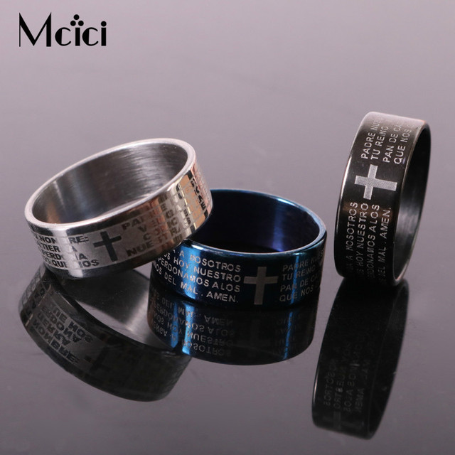 Silver Rings For Men Women Stainless Steel Bible Lord's Prayer Cross Rings Punk
