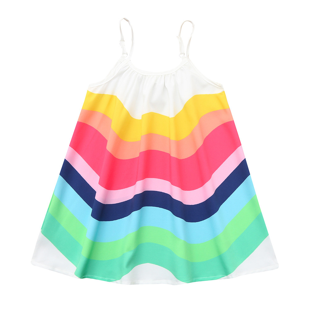 Summer Toddler Baby Girls Sleeveless Rainbow Print Dress Vest Dresses Clothes F4