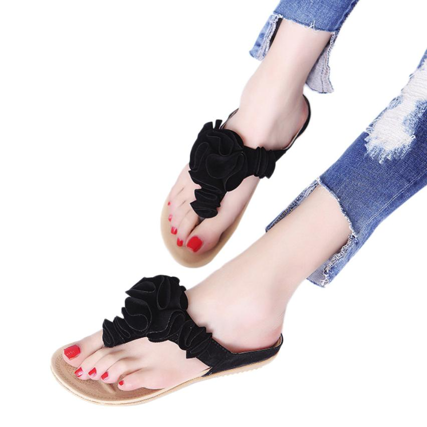 Slippers Women 2018 Summer Beach Flip Flops PU Flowers Casual Flat Shoes Lady Pretty Floral Sandals 30S8522 drop shipping