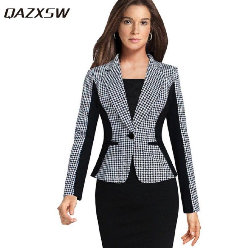 QAZXSW 2019 Ženy saka a bundy Nové tisíce ptáků s dlouhými rukávy Malé ženy Oblek Verze Slim Ladies Blazer YX8891