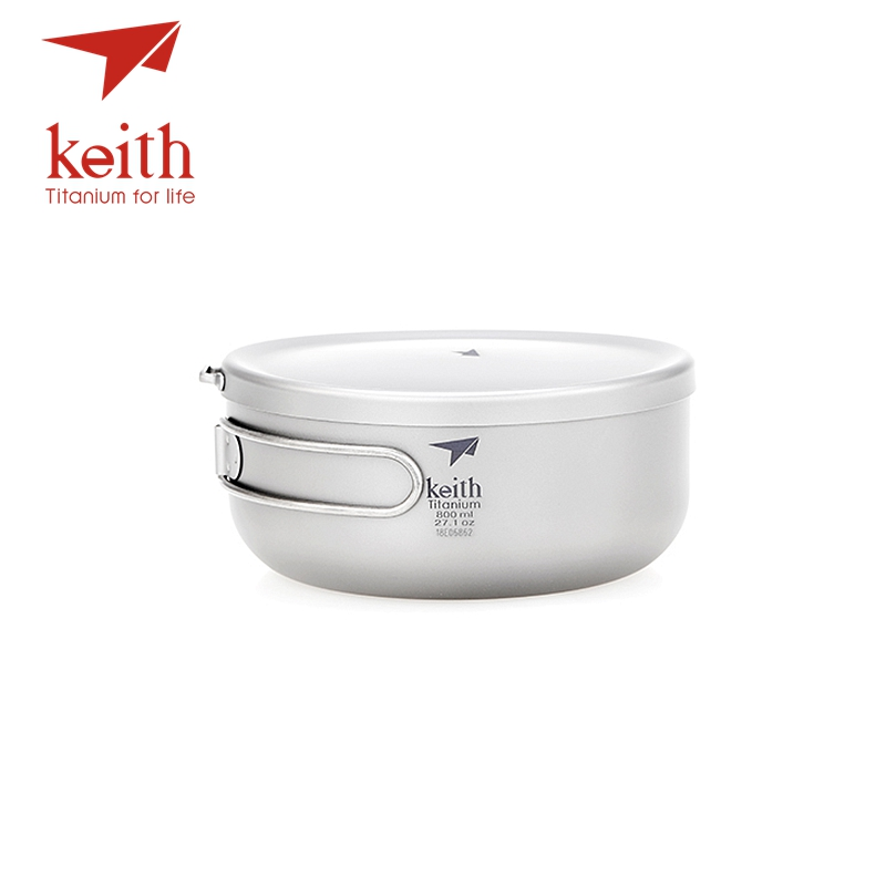 Keith Titanium Folding Lunch Box Bowls With Cover Outdoor Camping Cooking Bowl Cookware Travel Hiking Cooker