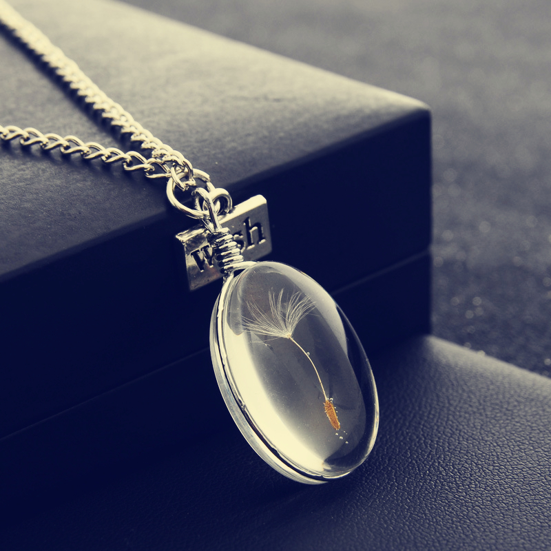 Natural Dandelion Round Crystal Pendants Handmade Custom Dried Flowers Necklaces Permanent Preservation Chains Jewelry For Women