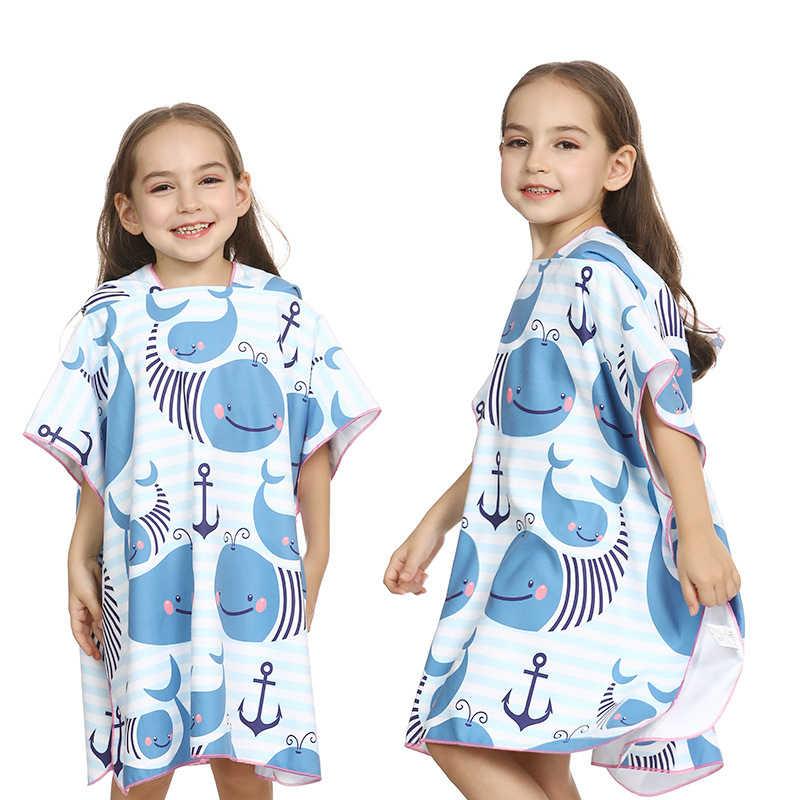 Dzieci szybkie suche szlafrok kąpielowy dinozaur podróżna dla dzieci płaszcz z kapturem strój kąpielowy chłopiec dziewczyna Poncho surfowania pływanie sport Fitness ręczniki na siłownię