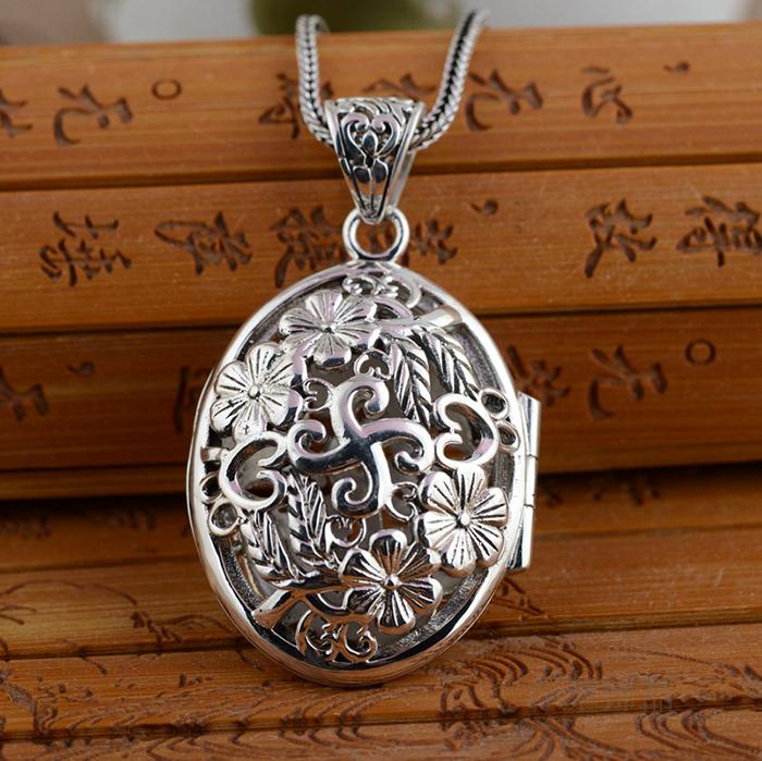 Handmade S925 Sterling Silver Silver Pendant Pendant in intime hollow carved exquisite antique female blossoming open s925 sterling silver pendant jewelry beeswax blessing in front of the pendant antique shaolan process female models