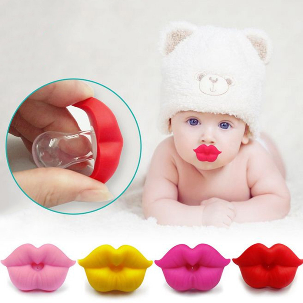 Pacifier Baby Red Kiss Lips Fake Fun Silicone Baby Teeth Silicone Strengthen Gums Mouth Comfort Concave Curved Two Venting Holes