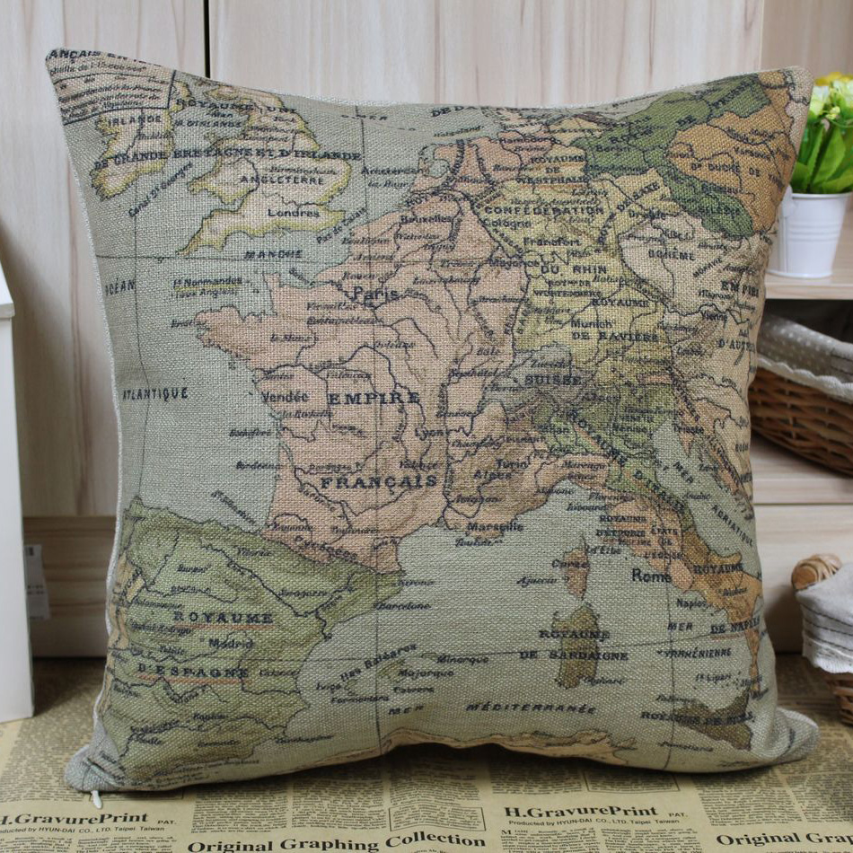 Linkwell free shipping world map vintage design european for Cheap european pillows