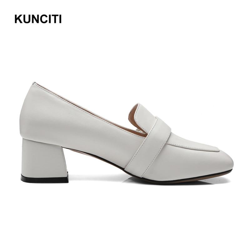 Métal Talons Confortable Carré G128 Dames Pompes Épais Femmes Bureau Kunciti Sexy white Blanc Bouclé Chaussures Black Bout 2018 nq1XSxzwt