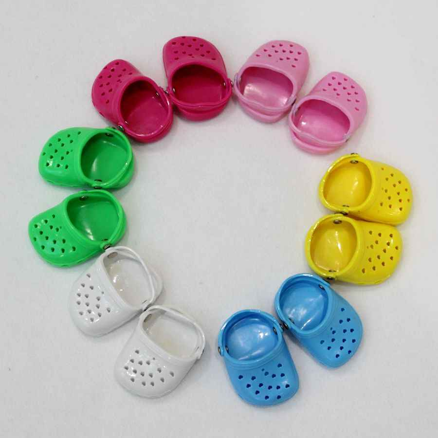 "Baby Doll Shoes 7cm Shoes Hole Shoes Flash Shoes Fits 43 cm Dolls Baby and 18"" Doll Summer Sandals American doll Accessories"